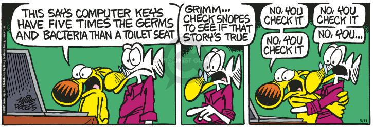 Cartoonist Mike Peters  Mother Goose and Grimm 2017-05-11 computer