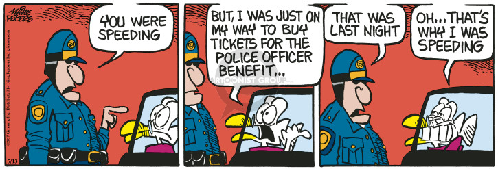 Cartoonist Mike Peters  Mother Goose and Grimm 2017-05-13 police