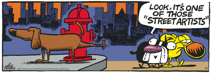 Comic Strip Mike Peters  Mother Goose and Grimm 2017-07-07 pee