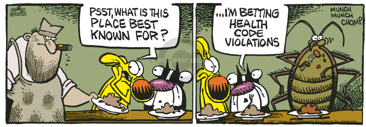 Cartoonist Mike Peters  Mother Goose and Grimm 2017-07-13 restaurant