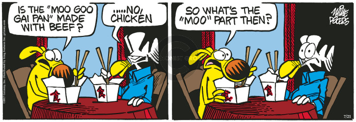 Cartoonist Mike Peters  Mother Goose and Grimm 2017-07-21 restaurant
