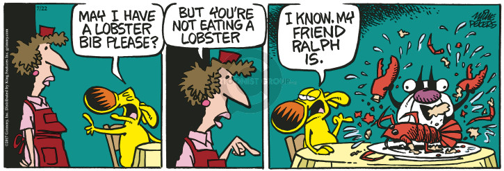 Cartoonist Mike Peters  Mother Goose and Grimm 2017-07-22 restaurant