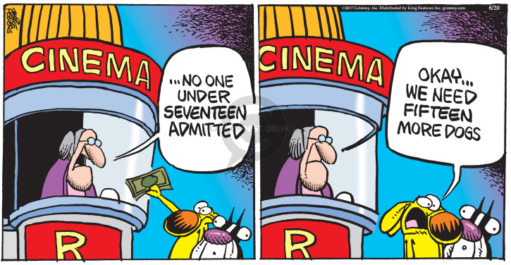 Comic Strip Mike Peters  Mother Goose and Grimm 2017-08-20 movie theater