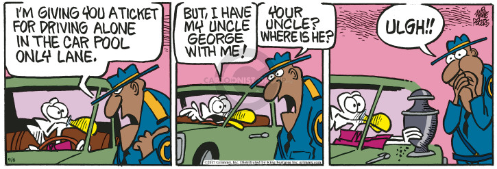Cartoonist Mike Peters  Mother Goose and Grimm 2017-09-06 police