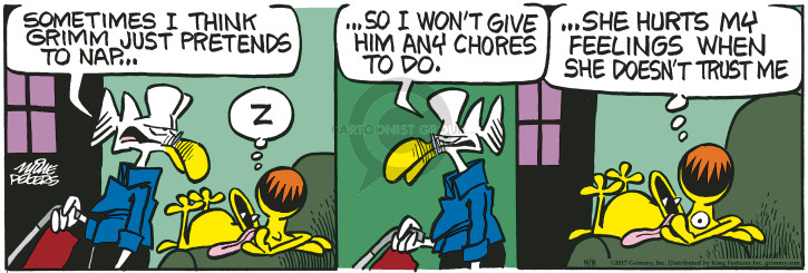 Comic Strip Mike Peters  Mother Goose and Grimm 2017-09-08 awake