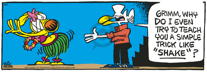 Cartoonist Mike Peters  Mother Goose and Grimm 2017-10-02 dog trick