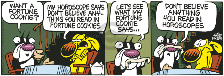 Cartoonist Mike Peters  Mother Goose and Grimm 2017-10-07 fortune cookie