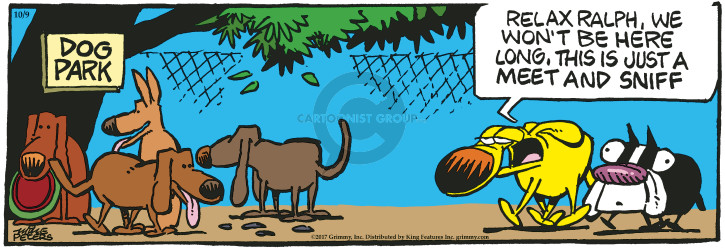 Comic Strip Mike Peters  Mother Goose and Grimm 2017-10-09 meet