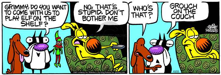 Cartoonist Mike Peters  Mother Goose and Grimm 2017-12-22 couch