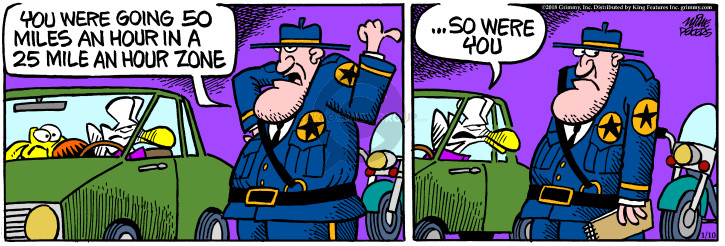 Cartoonist Mike Peters  Mother Goose and Grimm 2018-01-10 police