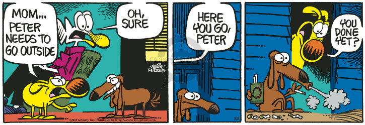 Cartoonist Mike Peters  Mother Goose and Grimm 2018-02-08 smoking