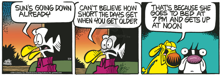 Cartoonist Mike Peters  Mother Goose and Grimm 2018-05-09 aging