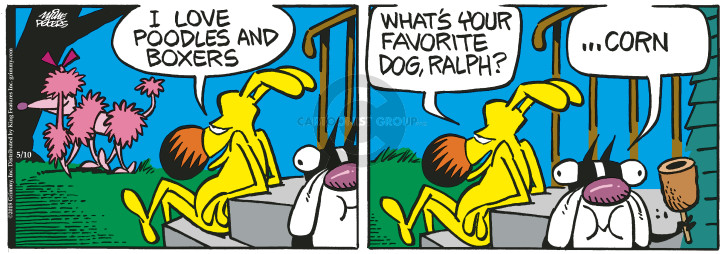 Cartoonist Mike Peters  Mother Goose and Grimm 2018-05-10 breed