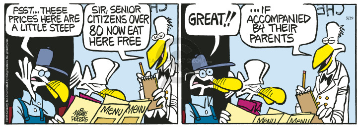 Cartoonist Mike Peters  Mother Goose and Grimm 2018-05-29 aging