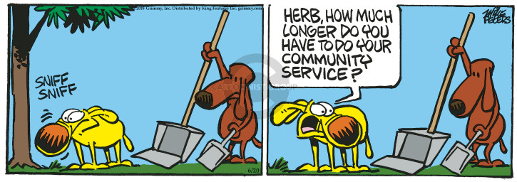Cartoonist Mike Peters  Mother Goose and Grimm 2018-06-20 community service