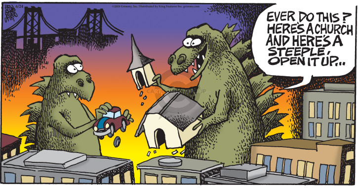 Comic Strip Mike Peters  Mother Goose and Grimm 2018-06-24 godzilla