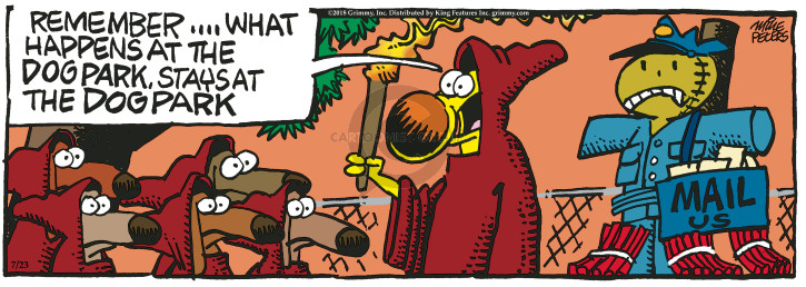 Cartoonist Mike Peters  Mother Goose and Grimm 2018-07-23 mailman