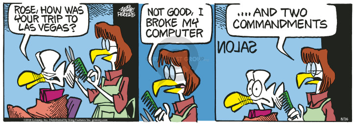 Cartoonist Mike Peters  Mother Goose and Grimm 2018-08-16 computer
