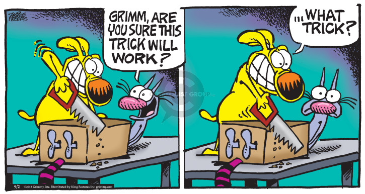 Cartoonist Mike Peters  Mother Goose and Grimm 2018-09-02 trick