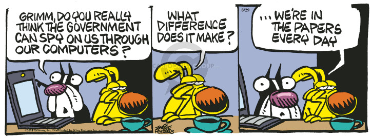 Cartoonist Mike Peters  Mother Goose and Grimm 2018-08-29 computer