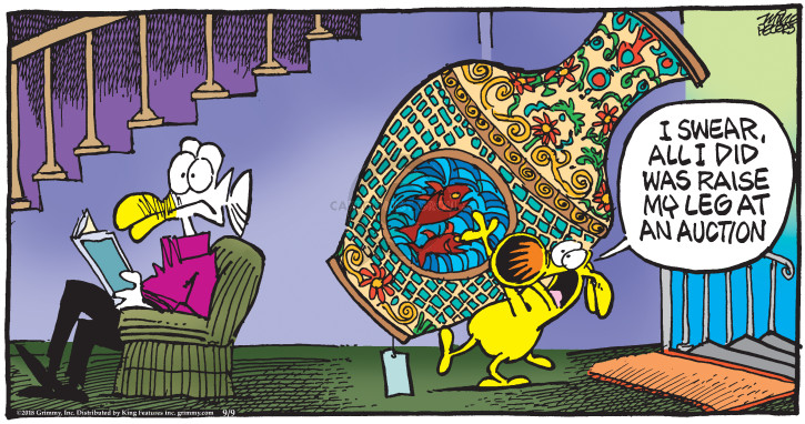 Cartoonist Mike Peters  Mother Goose and Grimm 2018-09-09 leg