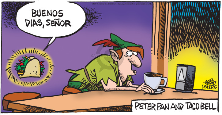 Cartoonist Mike Peters  Mother Goose and Grimm 2018-11-25 restaurant