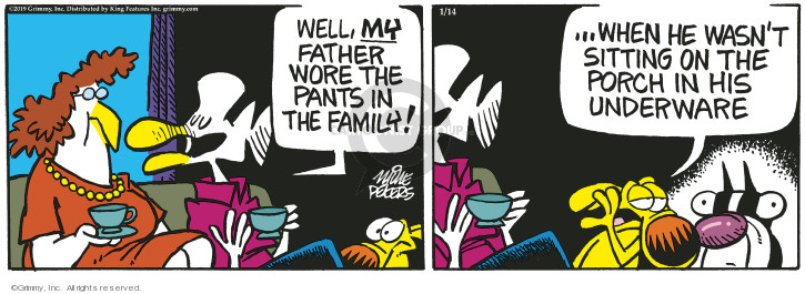 Cartoonist Mike Peters  Mother Goose and Grimm 2019-01-14 clothes
