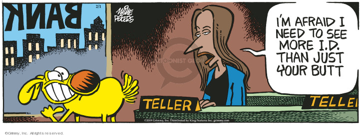 Comic Strip Mike Peters  Mother Goose and Grimm 2019-02-01 bank teller