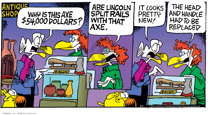 Comic Strip Mike Peters  Mother Goose and Grimm 2019-02-03 head