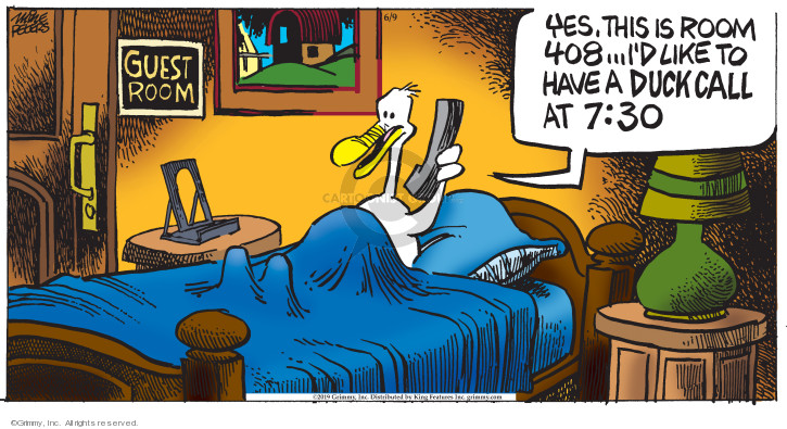 Cartoonist Mike Peters  Mother Goose and Grimm 2019-06-09 alarm