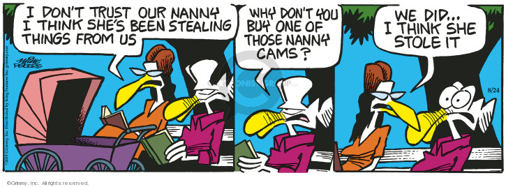 Cartoonist Mike Peters  Mother Goose and Grimm 2019-08-24 surveillance