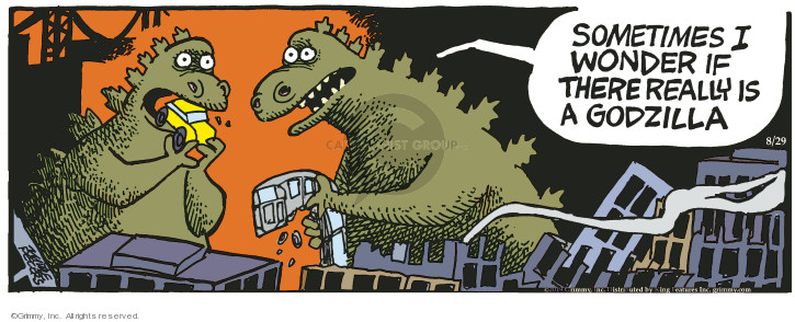 Comic Strip Mike Peters  Mother Goose and Grimm 2019-08-29 godzilla