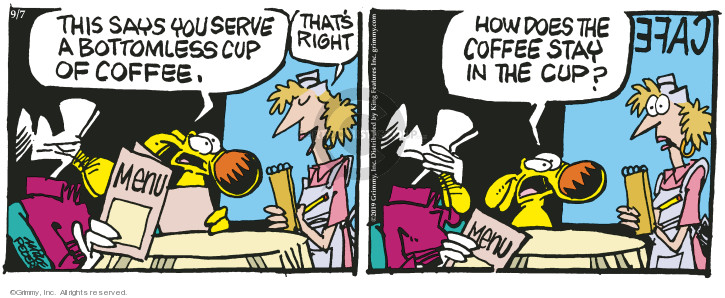 Comic Strip Mike Peters  Mother Goose and Grimm 2019-09-07 dining out
