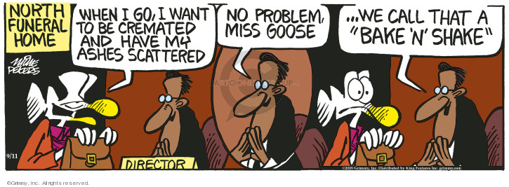 Cartoonist Mike Peters  Mother Goose and Grimm 2019-09-11 bake