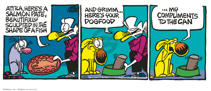 Cartoonist Mike Peters  Mother Goose and Grimm 2019-12-06 canned dog food