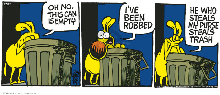 Comic Strip Mike Peters  Mother Goose and Grimm 2019-12-17 trash can