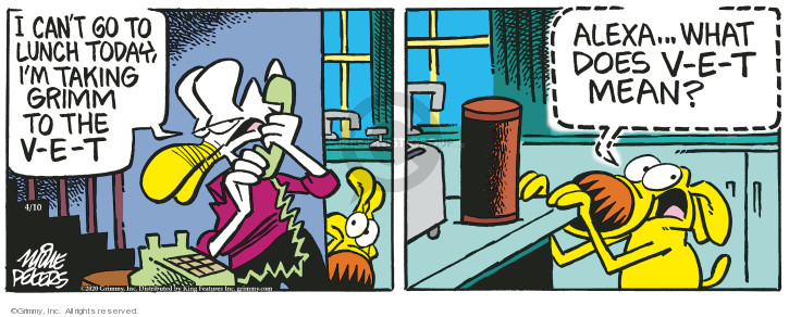 Cartoonist Mike Peters  Mother Goose and Grimm 2020-04-10 mean