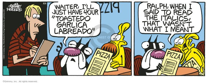 Comic Strip Mike Peters  Mother Goose and Grimm 2020-08-06 restaurant server