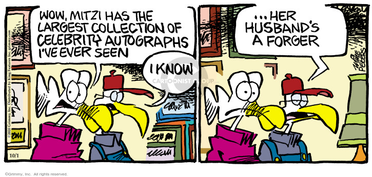 Comic Strip Mike Peters  Mother Goose and Grimm 2020-10-01 autograph