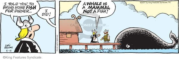 I told you to bring home fish for dinner … I did! A whale is a mammal, not a fish!
