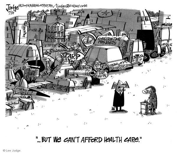 Cartoonist Lee Judge  Lee Judge's Editorial Cartoons 2009-07-19 congress health care