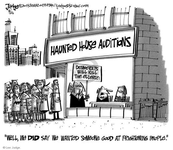 Cartoonist Lee Judge  Lee Judge's Editorial Cartoons 2009-08-26 republican
