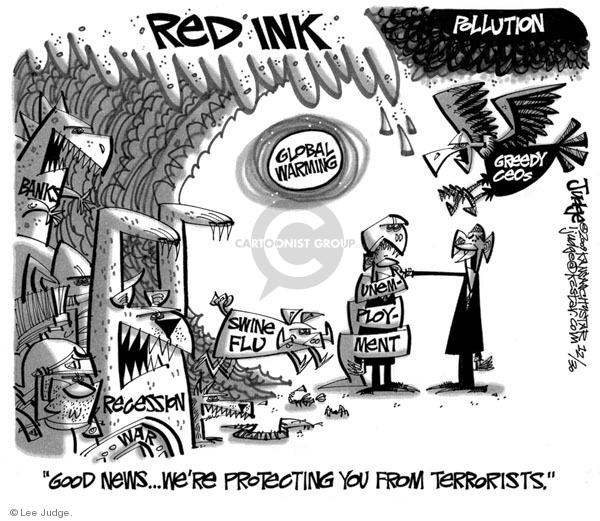 Cartoonist Lee Judge  Lee Judge's Editorial Cartoons 2009-12-30 recession