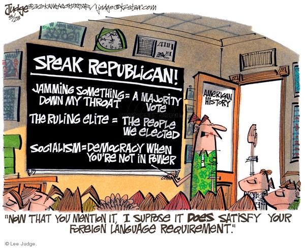 Lee Judge  Lee Judge's Editorial Cartoons 2010-03-23 speak
