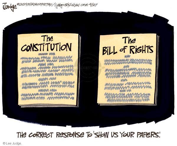 Cartoonist Lee Judge  Lee Judge's Editorial Cartoons 2010-04-27 civil liberty