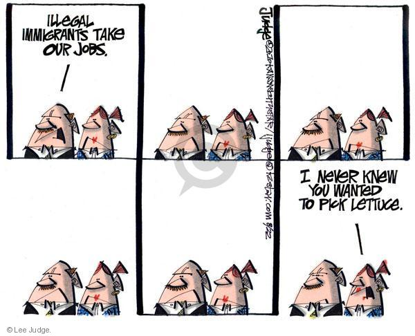 Cartoonist Lee Judge  Lee Judge's Editorial Cartoons 2010-08-22 immigrant