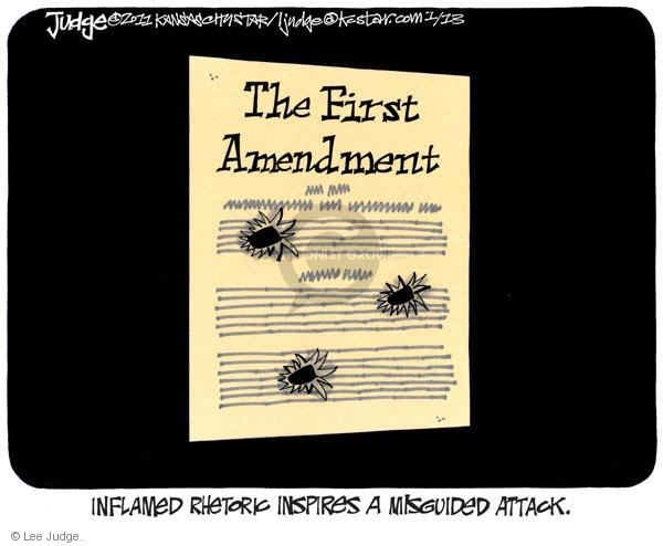 Lee Judge  Lee Judge's Editorial Cartoons 2011-01-13 first amendment