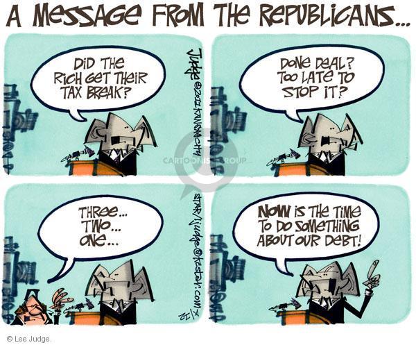 Lee Judge  Lee Judge's Editorial Cartoons 2011-04-12 federal budget