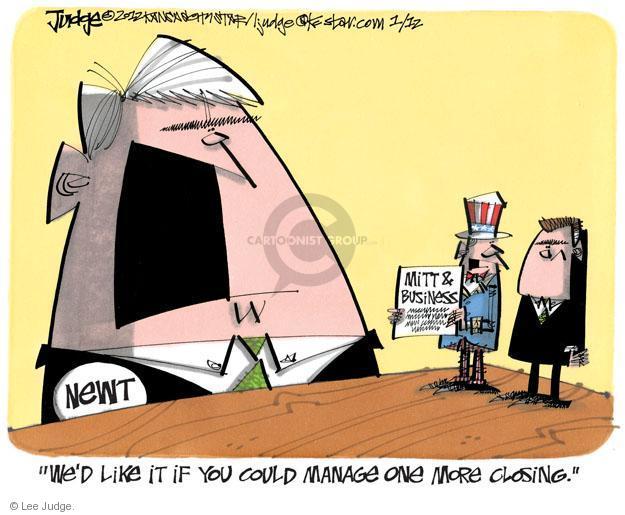 Lee Judge  Lee Judge's Editorial Cartoons 2012-01-12 2012 election economy
