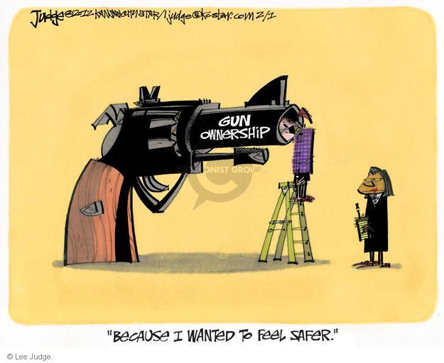 Cartoonist Lee Judge  Lee Judge's Editorial Cartoons 2012-02-01 handgun